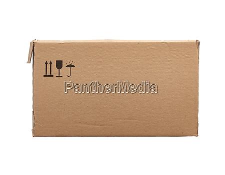 rectangular box of brown cardboard isolated