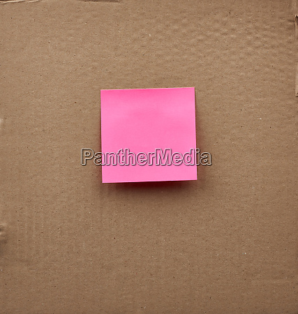 blank pink square paper glued on
