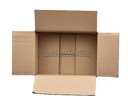 open empty brown square cardboard box