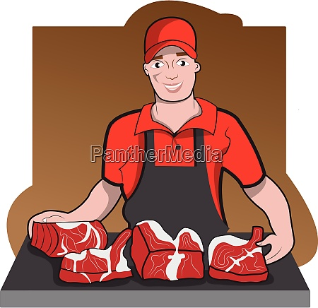 butcher with meat