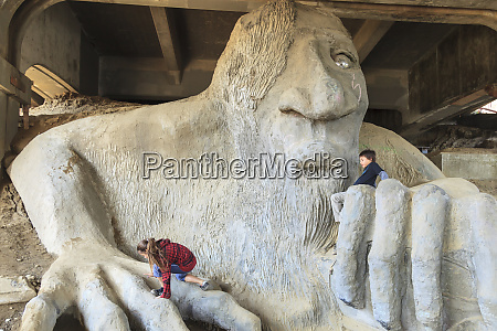 famous fremont bridge troll under aurora