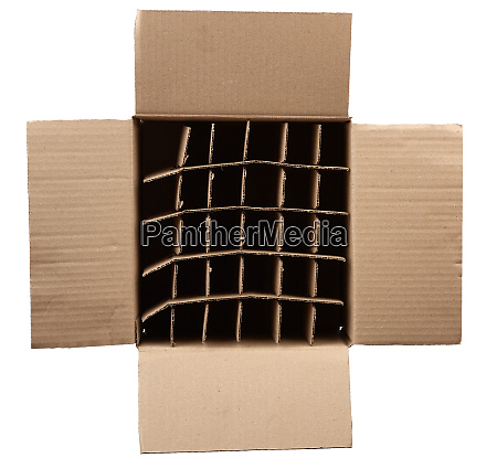 open empty cardboard box with partitions