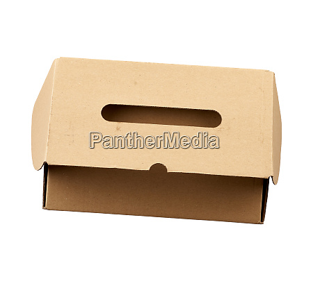 closed brown rectangular cardboard box for
