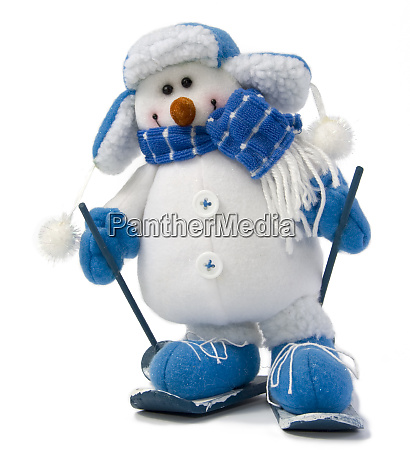 snowman in ski isolated