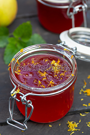 homemade jam in a jar and