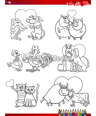 animal couple in love cartoons coloring