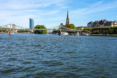 waterfront of main river in frankfurt