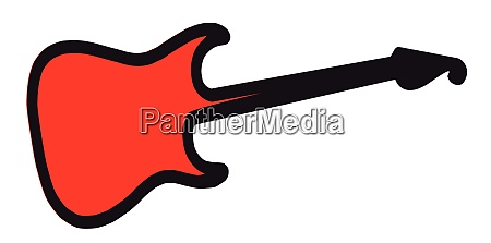 red copy space isolated guitar silhouette