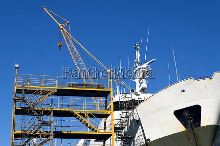 ship in the shipyard for maintenance