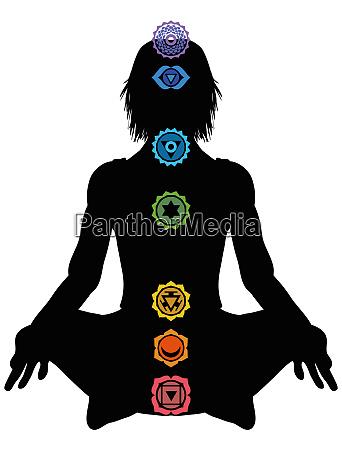 yoga healing chakrasmeditation mantra illustration