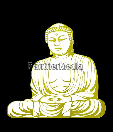 illustration golden white buddha asian culture