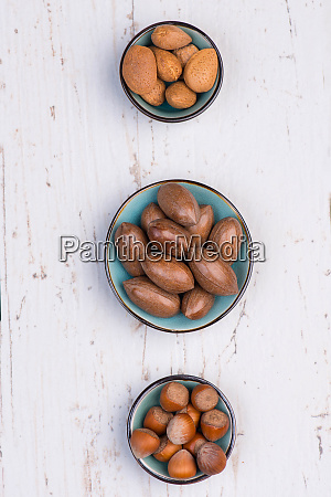 mix of nuts on a white