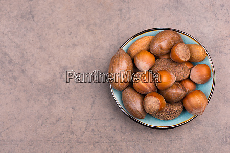 nuts mix on a brown textured