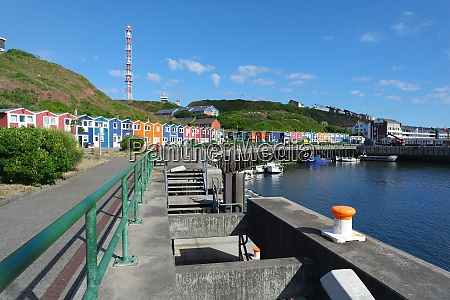 helgoland harbor and colorful wooden houses