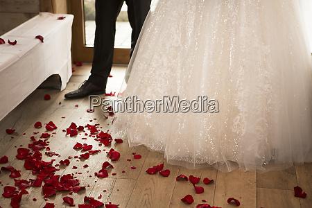 rose petals on the wedding floor