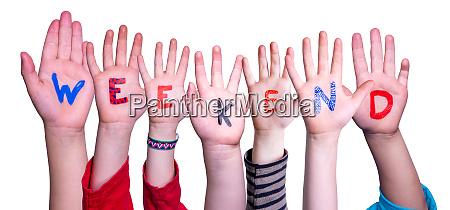 children hands building word weekend isolated