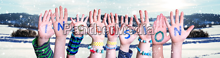 children hands building word inclusion snowy
