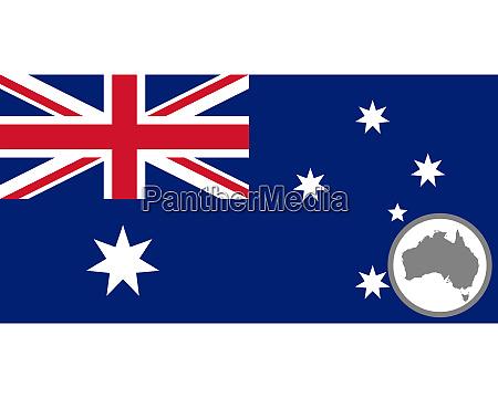 fahne und landkarte von australien