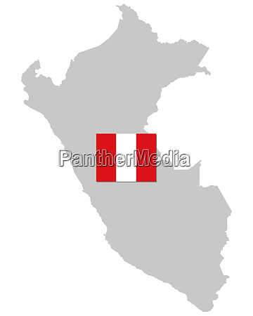 fahne und landkarte von peru