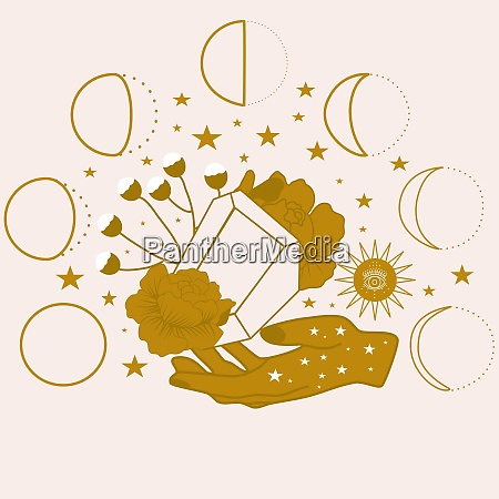 vector illustration with diamonds hands and