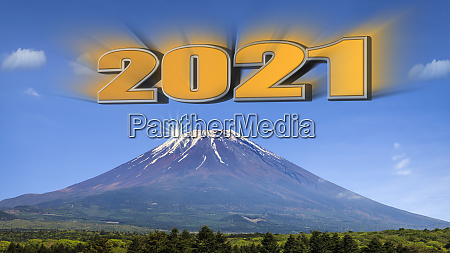 3d rendering of year 2021 with