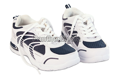 white and blue sport shoes