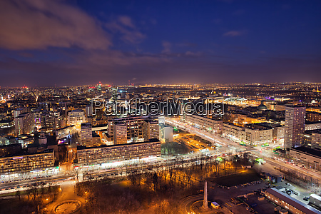 city of warsaw by night in