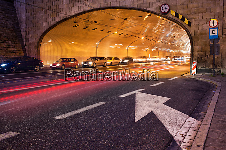 tunnel night trafic in city of