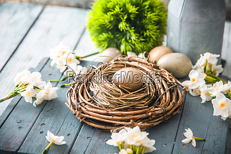 easter concept on wood