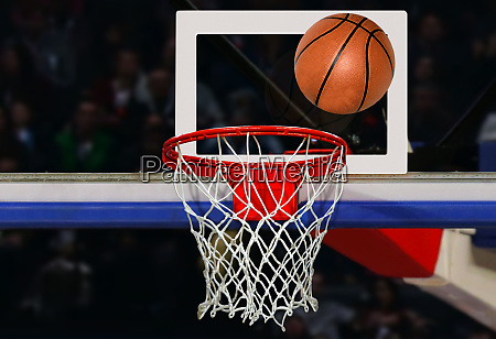 basketball shot to the hoop in