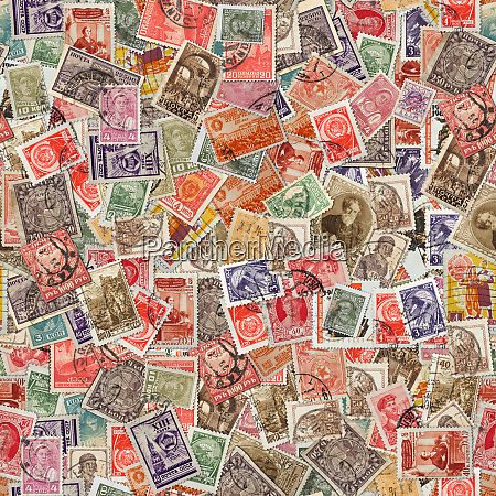 seamless texture of postage stamps