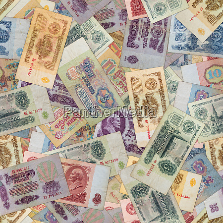 seamless texture of old ussr banknotes
