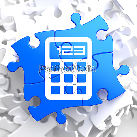 calculator icon on blue puzzle