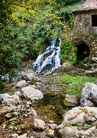 ancient water mill in the natural