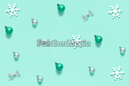christmas decorations on a light green