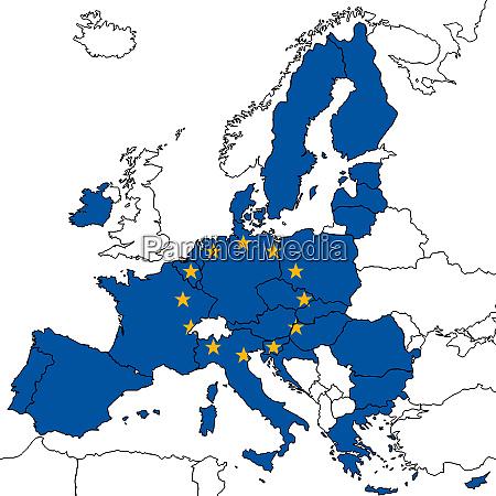 european union map without uk britain