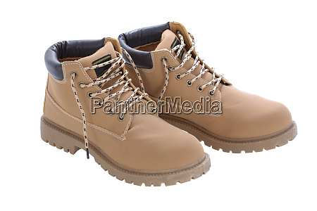 brown work boots isolated on a