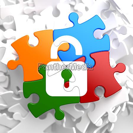security concept on multicolor puzzle