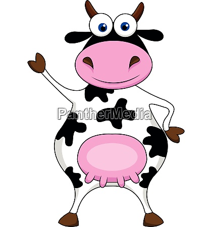cow cartoon waving