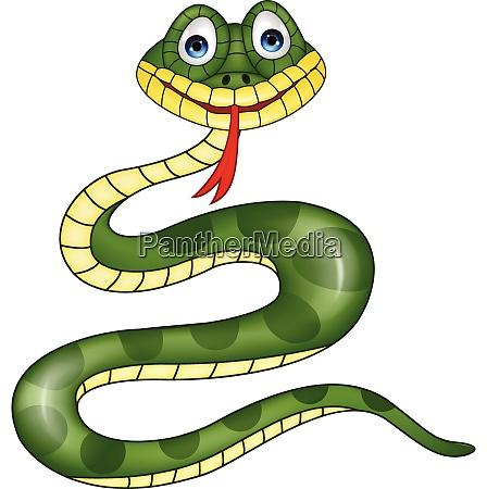 funny green snake cartoon
