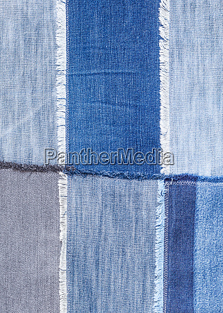 patchwork from various blue denim flaps