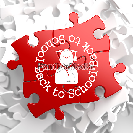 back to school on red puzzle