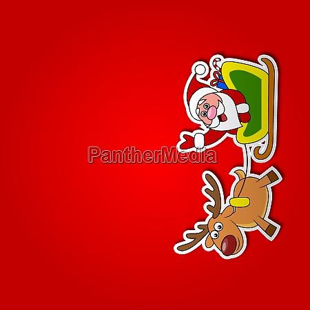 paper cut of santa drives his