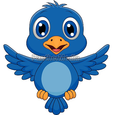 cute blue bird cartoon flying