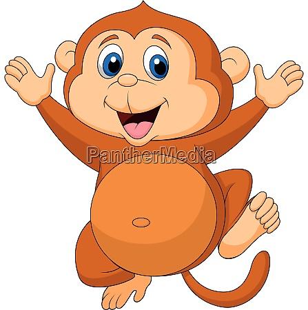happy monkey cartoon with thumb up