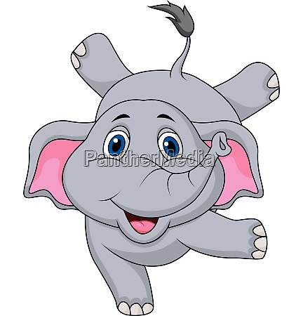 cute elephant cartoon standing using hand