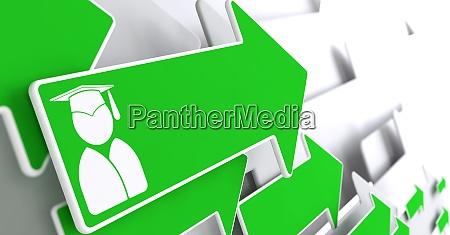 graduate icon on green arrow