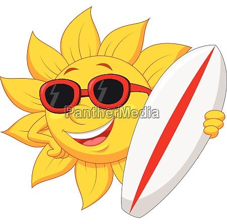 sun cartoon holding a surfer board