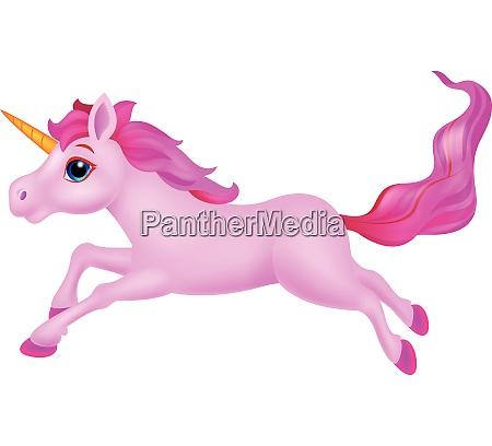 cute pink unicorn cartoon running
