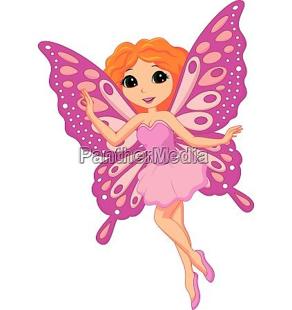 cute pink fairy cartoon